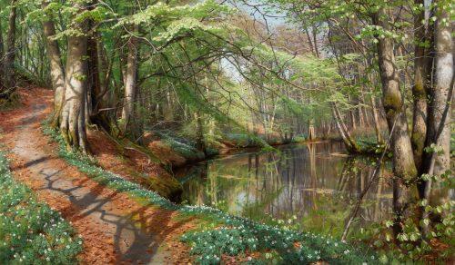 Mønsted, Peder: Spring day at the forest stream near Sæby, 1896