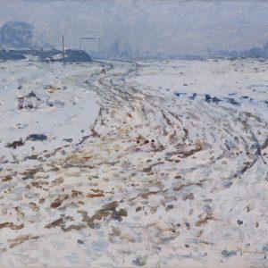 Clarenbach, Max: Verschneite Niederrheinlandschaft