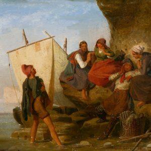 Ebers, Emil: Liebeserklärung an der normannischen Küste, 1841