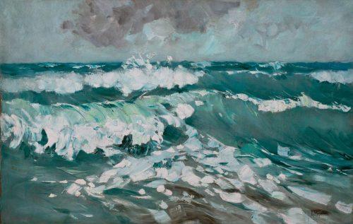 Hagemeister, Karl: Bewegte See mit gischtenden Wellenkämmen, um 1912