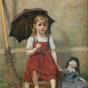 Henningsen, Christian Pram: Mädchen in rotem Kleid und Regenschirm, 1884