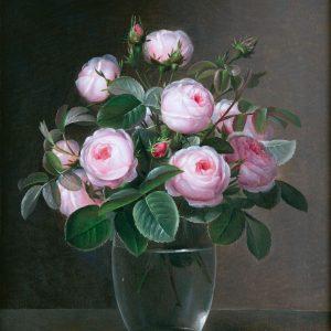 Jensen, Johan Laurentz: Rosen in Glasvase, 1842