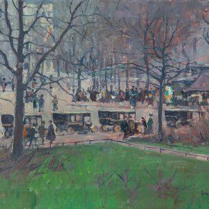 Lucas, Willy: Fassadenansicht hinter Bäumen, um 1916/17