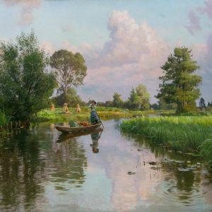 Peder Mönsted: Landschaft mit dem Kanal bei Lehde, 1910