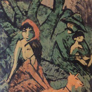Mueller, Otto: Lagernde Zigeunerfamilie mit Ziege, 1926/27