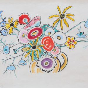 Münter, Gabriele: Blumenbouquet in gelben Krug, 1956