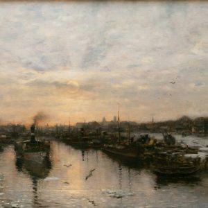 Munthe, Ludwig: Neusser Hafen im Winter, 1888