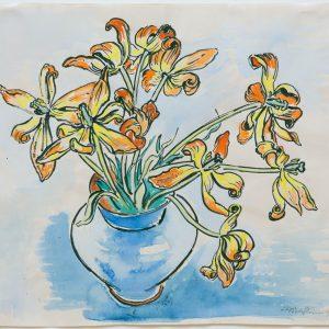 Pechstein, Max: Verblühende Tulpen, 1949