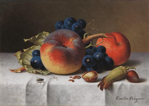 Emilie Preyer: Früchtestillleben mit Pfirsich