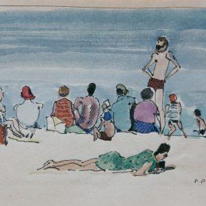 Pierre Pruvost: Antibes. Belebter Strand